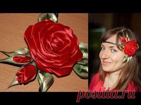 Roza Kanzashi on Afinka (master class) \/ DIY Kanzashi Rose - YouTube