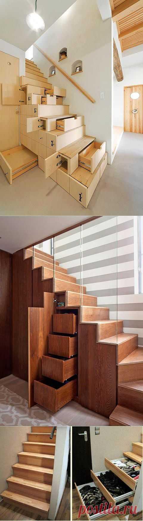 А как еще можно использовать лестницу для дополнительного пространства? Лестничный марш - место под хранилище.