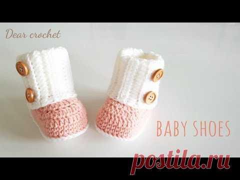 코바늘 아기신발 뜨는 방법 (crochet baby booties) 신생아 ~ 1 년생