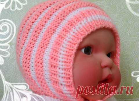 как связать шапочку для новорожденного спицами вязаные шапки