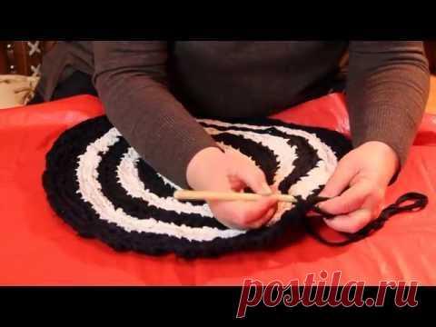Как связать коврик крючком зигзагом