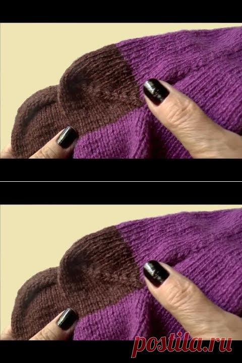 вязание пятки носка пятка носка спицами пятка бумеранг ч 1