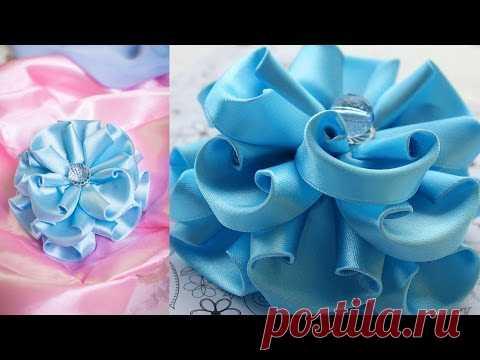 Blue Flower of Kanzasha \/ Magnificent bow \/ MK \/ DIY \/ kanzashi tutorial