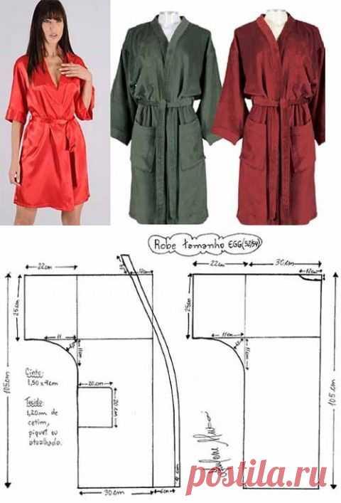 7446a5f744b Выкройка халата кимоно с запахом и рукавами - Aj-blog