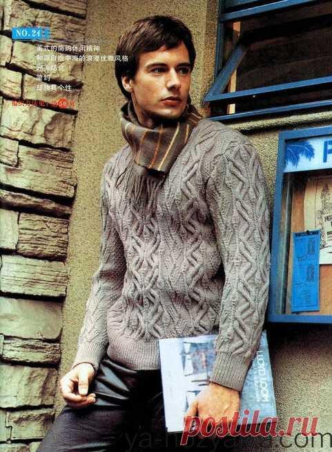 Мужской пуловер вязаный спицами. Связать мужской свитер спицами схемы и описание