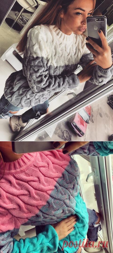 свитер узором из больших кос схема вязания свитера лало вязание