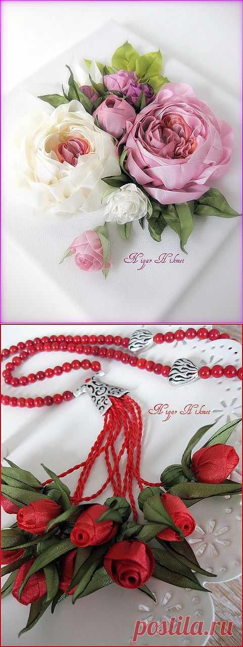 Невероятно красивые цветы из лент и бисера | РУКОДЕЛИЕ