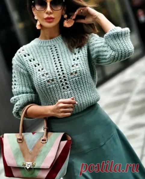 Женский свитер спицами, схема