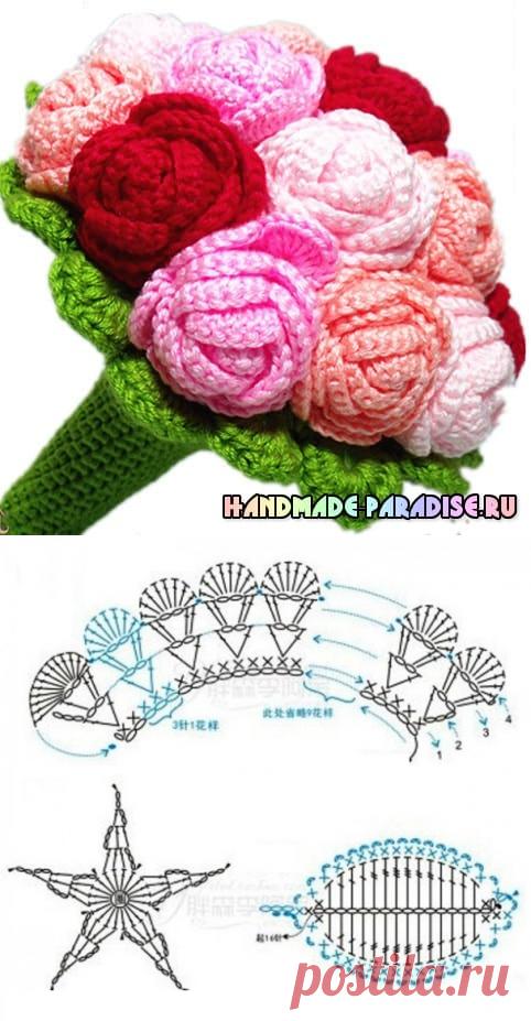 вязаные розы крючком схема Handmade Paradise вязаные цветы