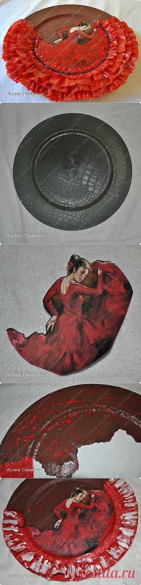 """Декупаж. Потрясающая тарелка """"Танцовщица Фламенко"""". Подробный мастер-класс + авторские воплощения!."""