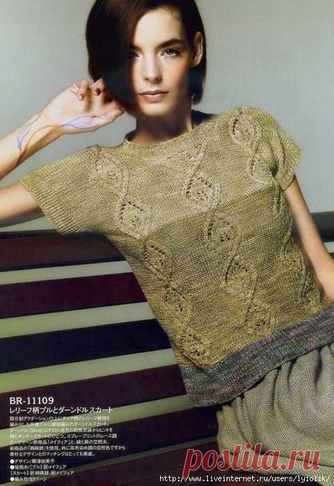 трёхцветная ажурная блуза спицами схемы обсуждение на