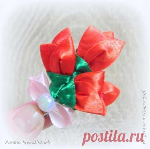 a948e62a0b1b Заколка для волос Тюльпаны канзаши - отличный подарок на 8 марта! автор:  Алена Handiwork