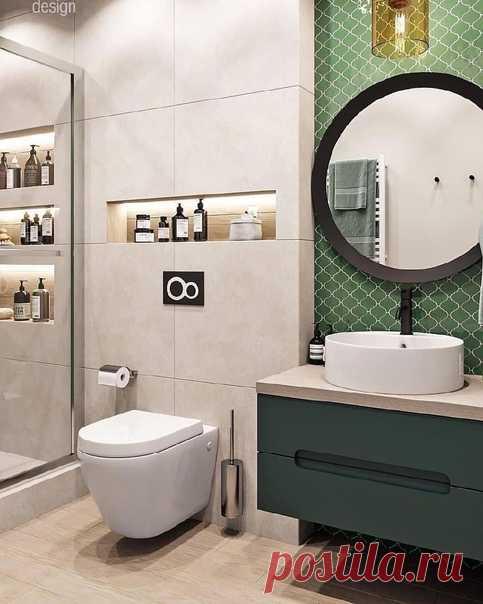 Ванная комната. В приятных зеленых тонах. Нравится ниша рядом с зеркалом. Люблю круглые зеркала!