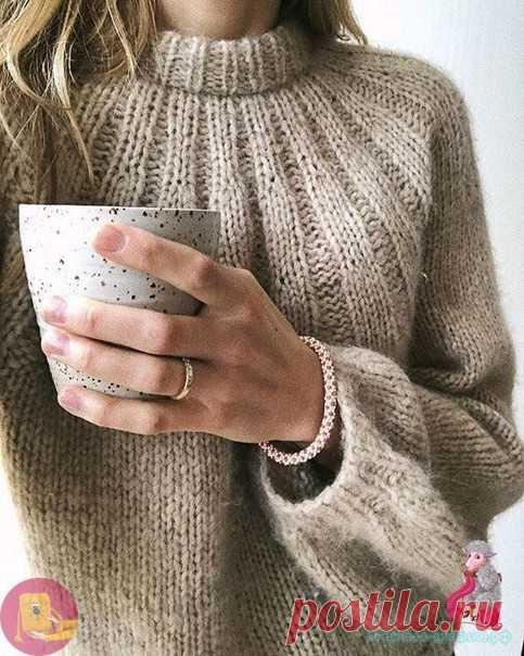 Женский свитер спицами  для paзмеpoв XS (S) M (L) XL (XXL)