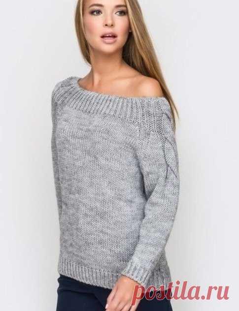 пуловер со спущенным плечом и жгутами на рукавах вязание