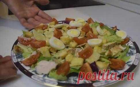 Цезарь с курицей и сухариками в домашних условиях - 7 классических рецептов