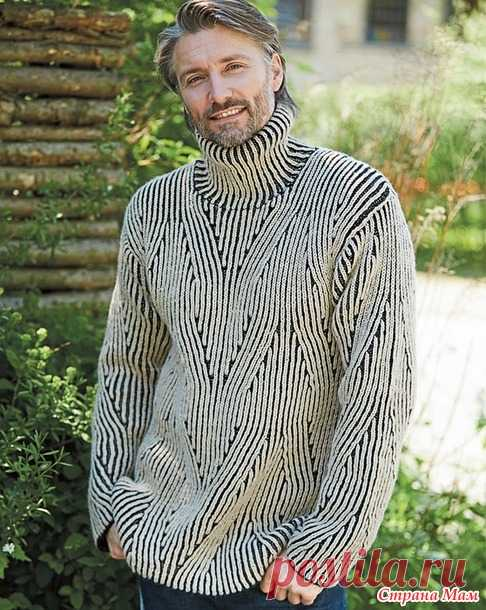 . Мужской свитер с двухцветным патентным узором в стиле Бриошь - Вязание - Страна Мам