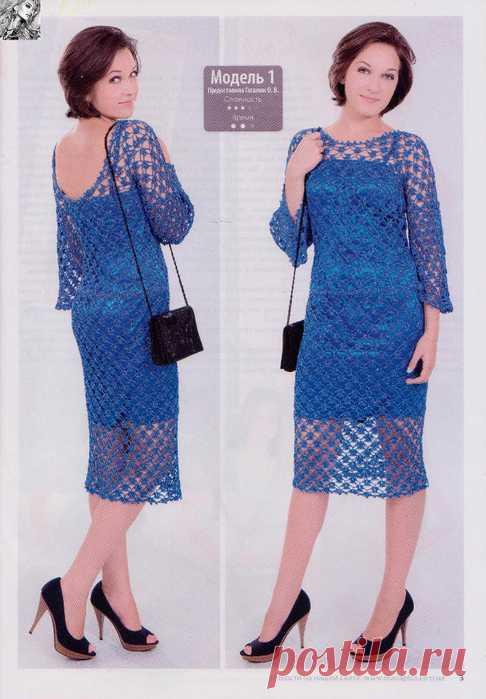 Вяжем стильное платье крючком сетчатым узором. Схема вязания ажурного платья крючком |