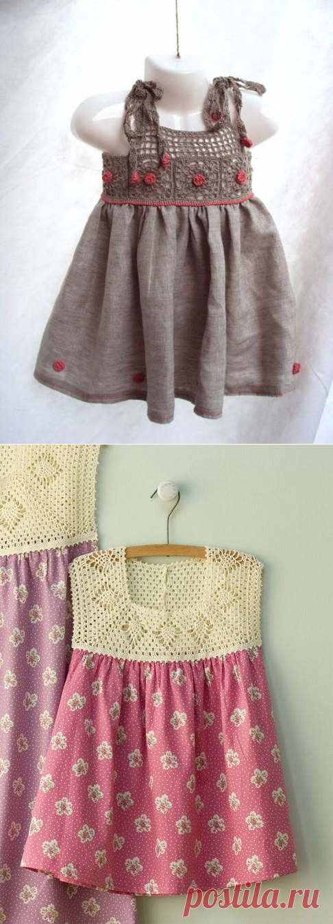 Knitting + fabric. Children's dresses, for inspiration. Pictures from the Internet.