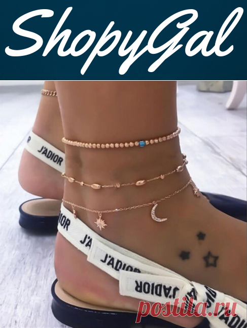 Cute Beads Moon Star Multilayer Barefoot Sandals Anklet | ShopyGal.com
