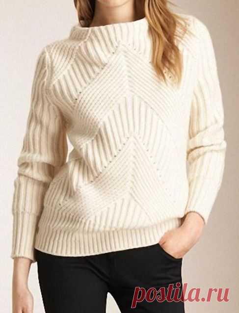 Белый свитер BURBERRY с диагональным узором спицами