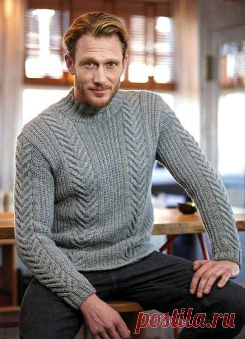 мужской свитер с косами схема вязание спицами для мужчин со схемами