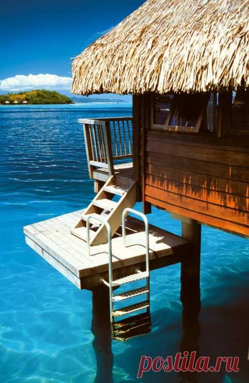 Далеко ходить не надо, чтобы искупаться. Отель на воде. Остров Бора-Бора