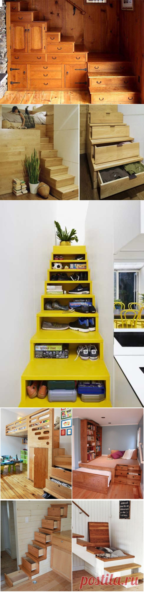 Многофункциональные лестницы с ящиками в ступенях: компактно и оригинально