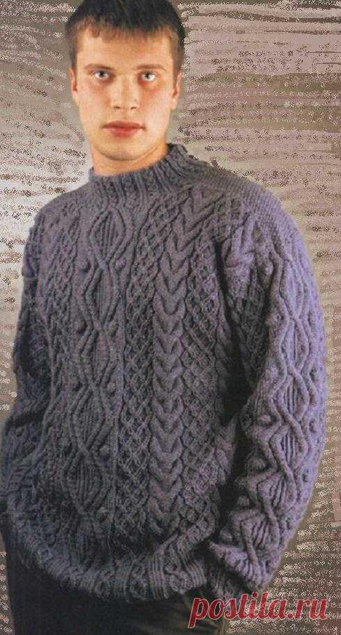 Мужской ирландский старинный свитер | Шкатулочка для рукодельниц