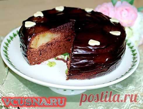 """Пирог """"Груши в шоколадном бисквите"""" - VCUSNA.RU"""