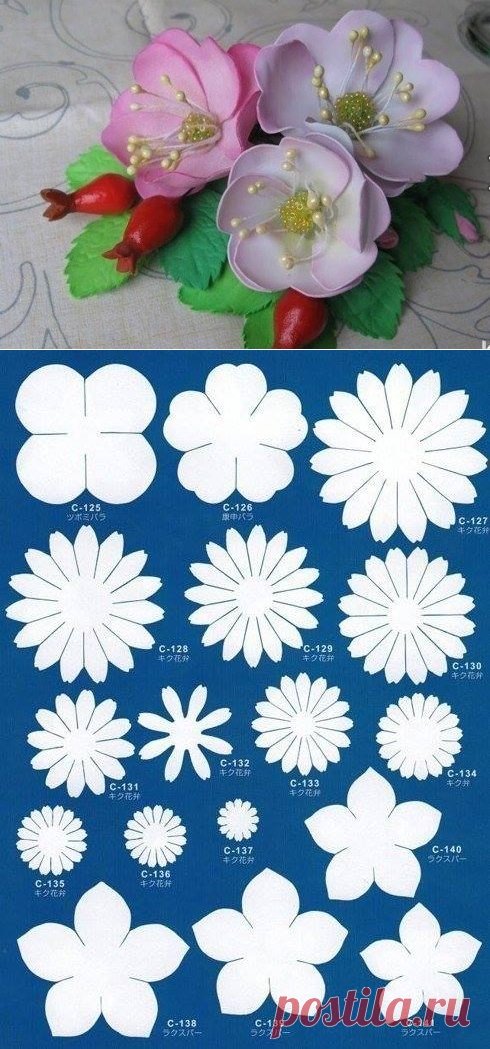 Templates for creation of flowers from a foamiran: big collection