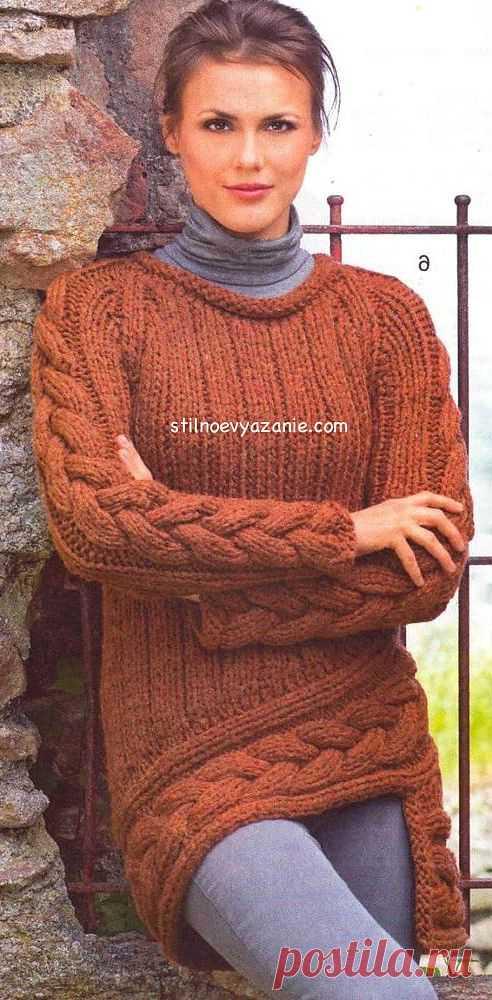 Вязание спицами пуловера с асимметричным краем / Стильное вязание