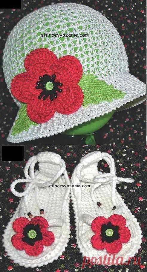 Шляпка и босоножки с маками. Комплект для маленькой модницы.