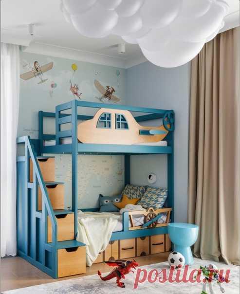 Зона сна для двоих детей. Креативно и стильно: цвет и идея исполнения.