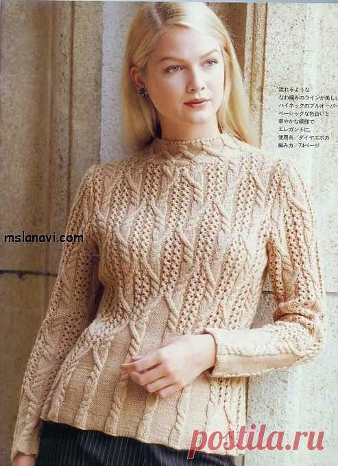 Вязаный пуловер спицами с аранами | Вяжем с Ланой