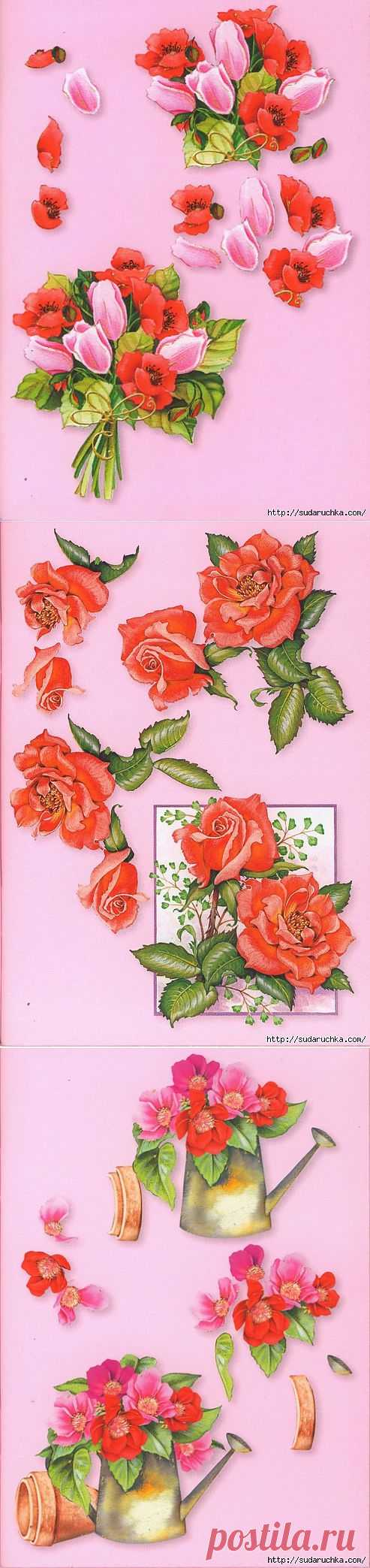 3 D мини картинки для скрапбукинга - цветы..