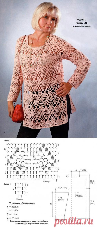 Вязание туники для полных женщин со схемами |