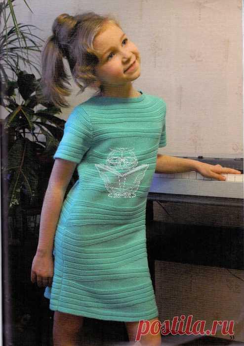 платье для девочек спицами схема видео