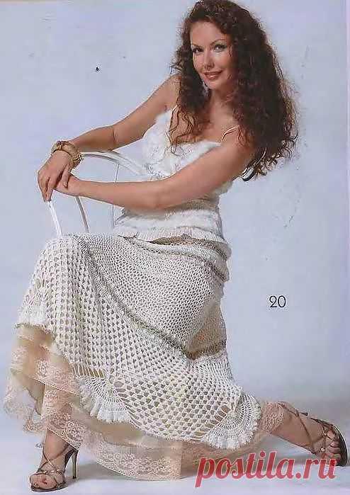 Красивучая юбка крючком. Есть схема вязания.