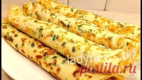 Нежные блинчики с плавленым сыром, сметаной и зеленью