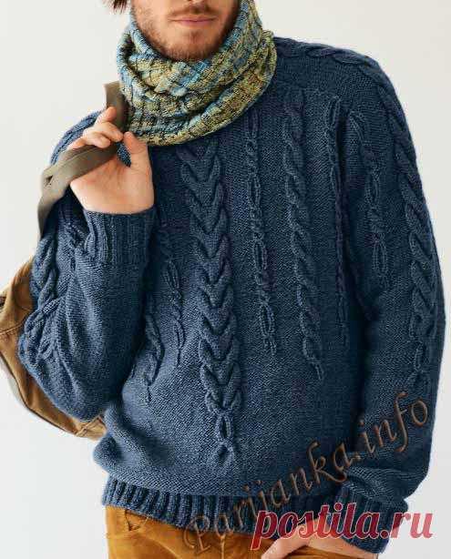 Пуловер с косами (м) 731 Creations 2013/2014 Bergere de France.