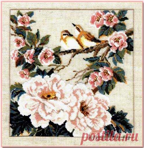 Птица на ветке с розовыми цветами арт.486 Риолис купить в Stitch и Крестик