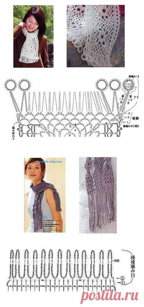 обвязка шарфа крючком фото схемы и описание ход пошли маски