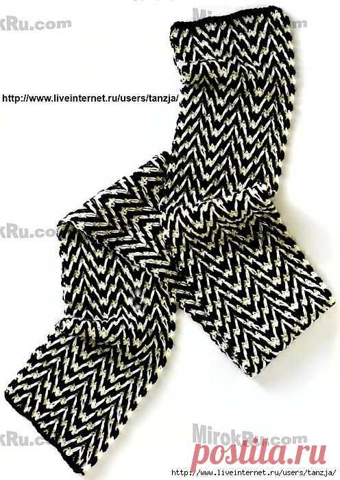 Зигзагообразный мужской шарф от Кэтлин Стьюарт (крючок).