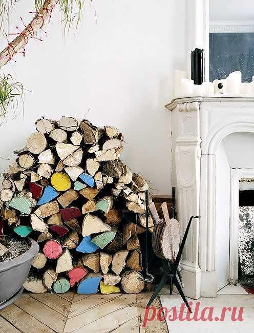 и дрова могут стать стильным декоративным элементом | Декор идеи