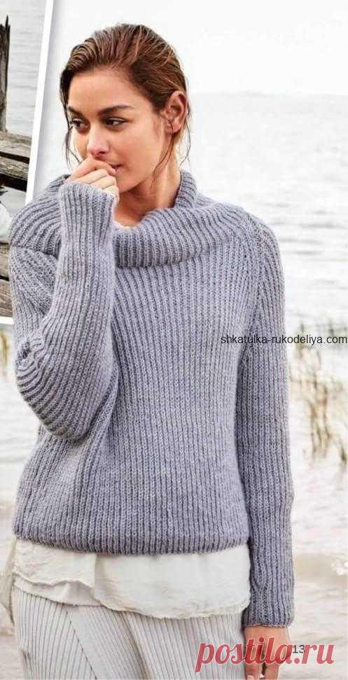 Серый пуловер Серый пуловер спицами. Женский пуловер из полупатентного узора спицами