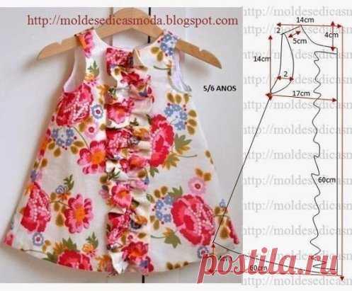 Выкройка платья для девочки 5-6 лет