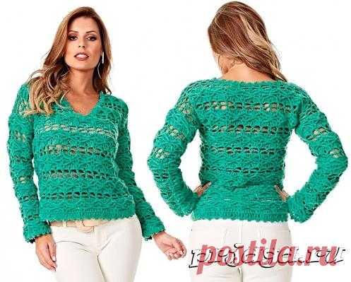 Бирюзовый пуловер крючком
