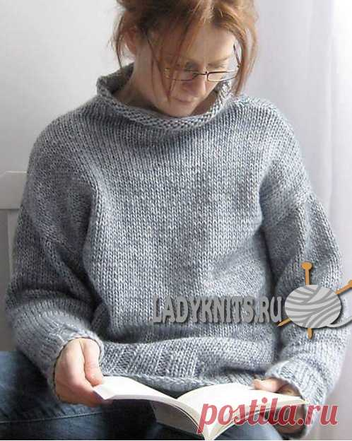 Вязание спицами простого свитера оверсайз из толстой пряжи