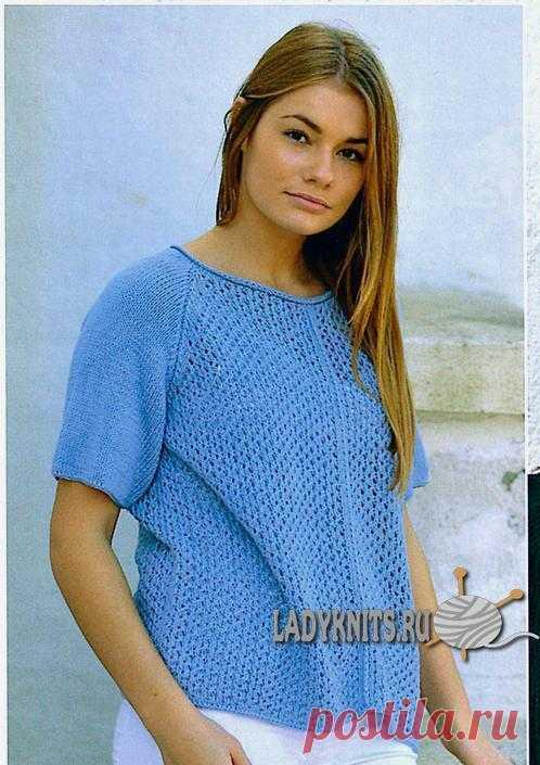 Вязаная элегантная ажурная блуза с рукавом реглан для женщин, вязать её совсем не сложно.Спицы